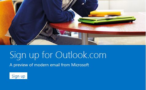 outlook sign up page